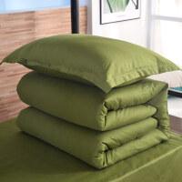 【开学】学生军训用的被子和褥子 学生军训床上用品被褥套装军绿色被套宿舍纯棉单人三件套铺盖套件 军绿色