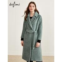 伊芙丽冬装新款羊驼毛毛呢外套毛毛宽松系带羊毛双面呢大衣女