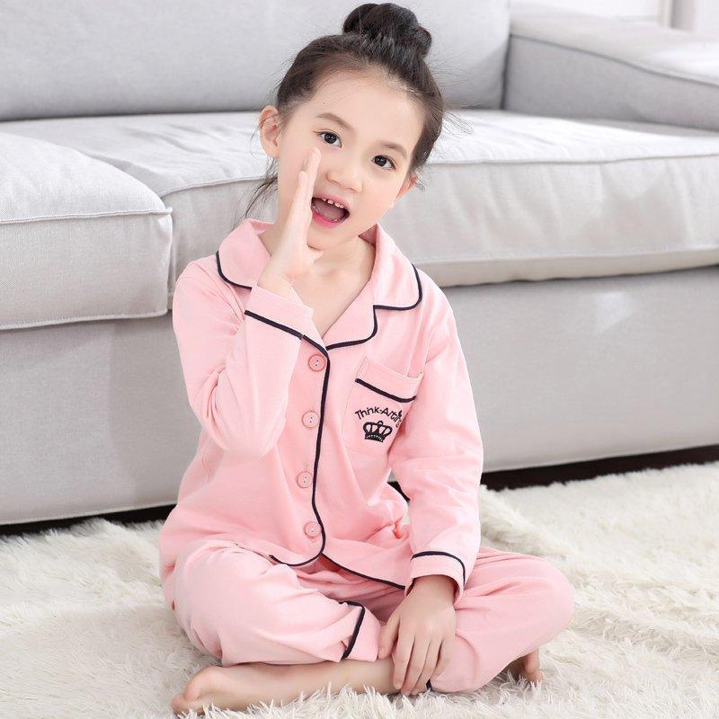 儿童睡衣纯棉长袖小孩宝宝儿童家居服公主全棉套装3-5大童7-9周岁