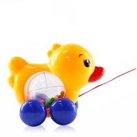 牵拉玩具 儿童拖拉玩具拉线摇铃响QQ小鸭子婴儿宝宝手拉走学步0-1-3岁 黄色