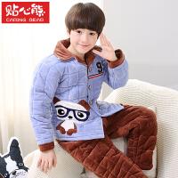 儿童睡衣夹棉法兰绒珊瑚绒加厚男孩家居服套装秋冬季