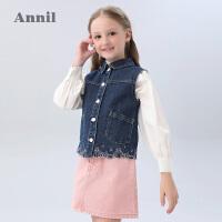 【2件5折:119.5】安奈儿童装女童牛仔马甲春2020新款女生洋气纯棉休闲刺绣背心外套