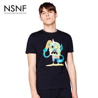 NSNF纯棉卡通图案圆领男款T恤 短袖男装2017新款 修身圆领针织短袖