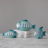 北欧风格ins家居摆件陶瓷热带鱼彩绘蓝色装饰品桌面电视柜摆设