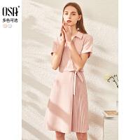 【券后�A估�r:193】OSA�W莎�赓|粉色�r衫�B衣裙女夏季2020新款中�L款收腰�@瘦�r衣裙