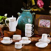 欧式骨瓷茶具咖啡杯套装下午茶套装21头带陶瓷托盘收纳咖啡具*乔迁新居装饰品开业送人摆件礼物 天鹅湖 21件