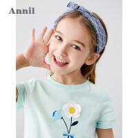 【活动价:93.7】安奈儿童装女童T恤圆领2020夏季新款中大童立体花朵女生短袖上衣