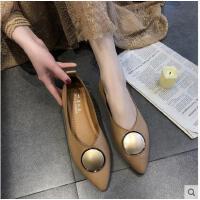 尖头单鞋女平底鞋百搭潮款温柔鞋浅口粗跟低跟韩版女鞋子