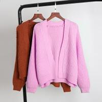 秋冬装女装针织衫开衫韩版短款宽松百搭毛衣上衣外套加厚学生 纯色披肩粉色 均码