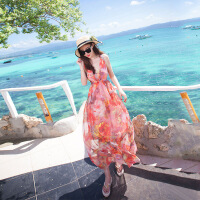 欧美女装沙滩裙女马尔代夫沙滩裙女夏2019新款海边度假波西米亚长裙仙大码连衣裙 烟花曼