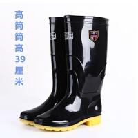 中高筒雨鞋男士耐磨工作水鞋保暖套鞋牛筋底防滑雨靴防水加绒胶鞋