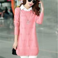 秋冬装韩版修身中长款衬衫领假两件针织衫套头打底衫毛衣女上衣领