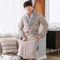 男士冬季睡袍珊瑚绒夹棉三层加厚长款保暖法兰绒浴袍男加肥加大码