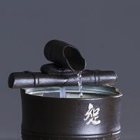 手工陶瓷流水摆件客厅喷泉小水景雾化加湿器茶室桌面招财装饰品