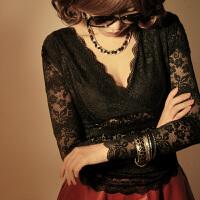 蕾丝短袖女夏性感V领上衣黑色修身勾花镂空雷丝打底衫雪纺衫大码T