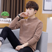 秋冬季男士毛衣半高领针织衫男韩版潮流个性纯色百搭线衣加厚保暖