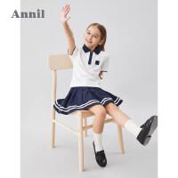 【活动价:184.5】安奈儿童装女童套装夏2020新款中大童休闲舒适女孩两件套T恤裙子