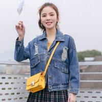 牛仔外套女2018春夏季新款韩版宽松显瘦短款学生原宿风破洞牛仔衫 中蓝破洞