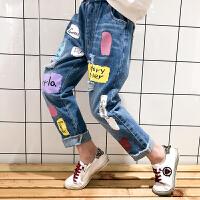 女童牛仔裤春秋装2018新款洋气破洞长裤中大童秋季休闲裤儿童裤子