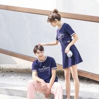 【新品特惠】不一样的情侣装夏装2019新款套装韩版字母短袖T恤镂空连衣裙子女 L60藏青色