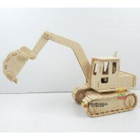 木质3D立体拼图儿童益智玩具 8岁以上男孩diy木制仿真模型挖掘机