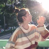 秋冬学院风毛衣女宽松韩版学生可爱彩虹色套头软妹撞色针织衫 图片色 均码