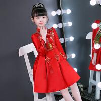 女童红色长袖中国风旗袍连衣裙儿童加绒演出服女孩唐装新年装冬季 红色加绒
