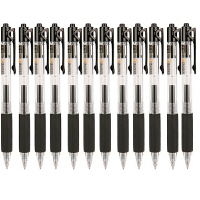 爱好 489经典按动中性笔 黑色(12支装)0.5mm 按动款办公水性笔 签字笔水笔芯男女书写学习办公得力助手练字 当当自营