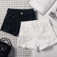 白色牛仔短裤女夏低腰2018新款韩版显瘦百搭修身破洞毛边热裤黑色