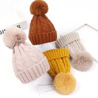 儿童秋冬帽子大毛球针织护耳帽男孩女孩套头帽亲子毛线帽