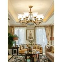 客厅吊灯美式全铜欧式客厅灯餐厅复式楼大气别墅陶瓷铜灯 12+8+4头(三层定制)