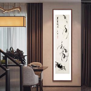 写意竖幅国画《双鳌戏水》于洪顺-实力派画师R2959