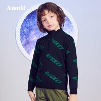 【3件3折:102】安奈儿童装男童冬季新款毛线衫斜字母提花全棉半开领毛衣