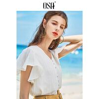 【限时秒杀价:129/叠券价:90.3】OSA欧莎2019夏装新款女装 气质V领门襟同色包扣条纹短袖衬衫 白色