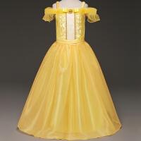 爱莎冰雪奇缘艾莎公主白雪公主裙女童演出服万圣节儿童服装 黄色
