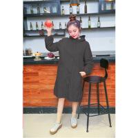 韩版时尚拉链风衣式罩衣女士长袖防水防油厨房围裙带帽工作服