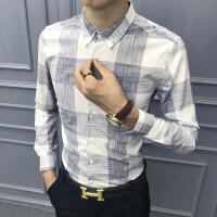 春季男士格子长袖衬衫男保暖休闲衬衣韩版修身潮流加绒帅气寸衣潮