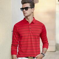 男士t恤长袖秋季条纹商务休闲polo衫中年男装上衣打底衫