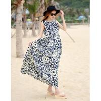 夏季新款甜美海边度假雪纺沙滩裙波西米亚长裙碎花印花吊带连衣裙