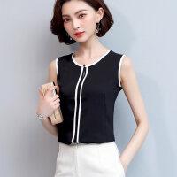 无袖雪纺衫女夏2018新款韩版黑色衬衫显瘦百搭上衣v领打底衬衣潮 性感黑