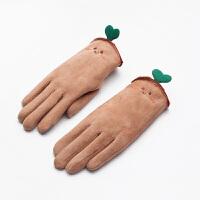 手套女冬甜美可爱卡通毛绒学生骑车手套五指触屏手套 驼色 豆芽手套 均码