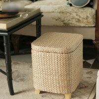 创意多功能收纳凳简约家居储物收纳凳实木收纳凳储物凳子藤编换鞋凳沙发凳化妆凳可坐人坐箱
