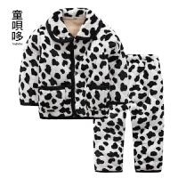 冬款加厚儿童睡衣珊瑚绒宝宝家居服男孩女孩套装冬季