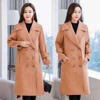 毛呢外套女中长款韩版2018冬季女装加厚宽松显瘦呢子大衣