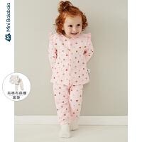 【1件6折】迷你巴拉巴拉儿童家居服女宝宝内穿套装2019秋季女童趣味睡衣套装