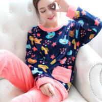 秋冬季加厚款珊瑚绒睡衣女套装加绒可爱法兰绒长袖大码套头家居服