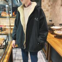 日系绣字夹克男士冬季新款棉衣韩版学生潮流羊羔毛加绒厚外套