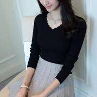 2019秋冬女装V领弹力针织套头打底衫显瘦修身长袖毛衣上衣女