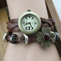 韩版时尚复古花朵装饰手表 山茶花女款表学生表 表盘直径2cm