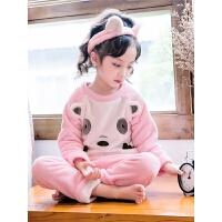 女童睡衣珊瑚绒秋冬季加厚款小童儿童法兰绒家居服套装宝宝小女孩